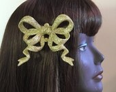 Yellow Gold Fascinator  Bow Detail Headpiece on SALE
