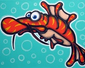 i am NOT a lobster - 12x16 original acrylic painting on canvas , fish art, fish painting