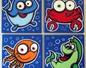 oCEAN bUDDiEs - set of 4 12x12 original paintings on canvas, fish paintings, fish room decor, fish wall art