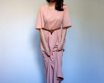 70s Light Orange Boho Dress Bell Sleeve Metallic Silver Shimmer Hippie Day Dress Fall Fashion Long Maxi Dress - Extra Small XS S