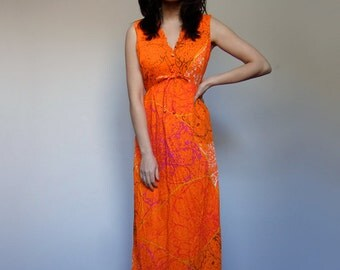 70s Hawaiian Maxi Dress Neon Orange Paint Splatter Pattern Sleeveless Long Summer Dress - Small Medium S M