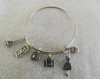 Paris Charm Bracelet, Paris Bangles bracelet, stackable, French Theme Bracelet, Mother's Day, Easter,