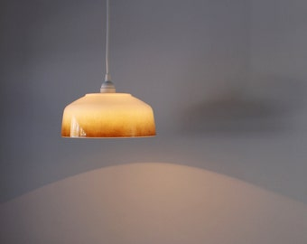 OMBRE - Upcycled Hanging Pendant Lamp Featuring a Vintage Federal Glass Iridescent Ombre Serving Bowl - BootsNGus Modern Lighting and Decor