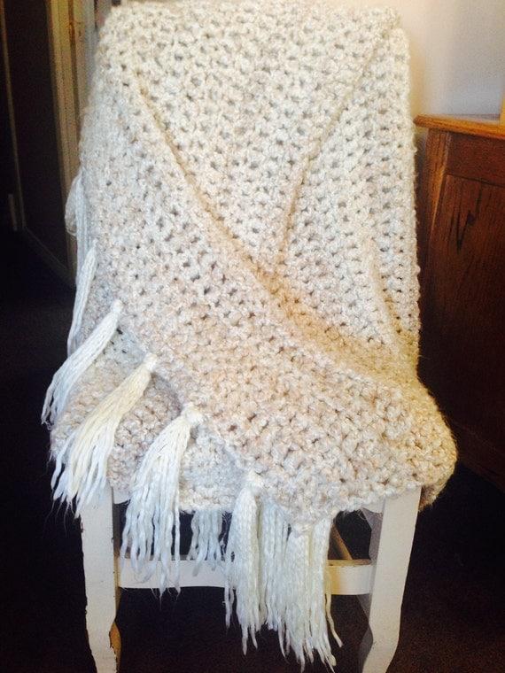 Afghan Crochet Blanket Extra Soft Comfy Cozy Beige/Ivory