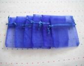Royal Blue Drawstring Organza Bags, 3x4, Gift Bags (12)