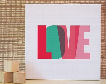 Love, 10x10 canvas, Red, Pink, Wall Art, Wall Decor, Quote, Kids Wall Art. 10x10 Love Letters Canvas