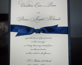 Navy and White Layered 5 x 7 Wedding Invitation with ribbon knot accent. bat mitzvah. sweet 16.communion. anniversary. inexpensive cheap