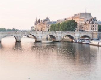 Paris Photography - Dawn, Pont Neuf, River Seine, Paris Fine Art Photograph, French Home Decor, Large Wall Art