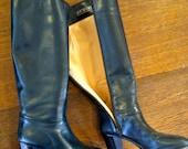 sweet blue leather Italian heeled go-go 70s knee boots 8N