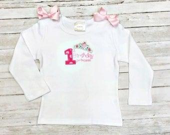 First 1st Birthday Princess Sparkle Applique Personalized Onesie Shirt Tanlk