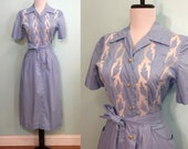 ON SALE Vintage 1950's Blue Dress with Sheer Cascading Leaf Inlay Size XS