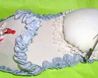 Opa Greek  Shoe Pincushion...Hand Embroiderd ...Ribbon Loop To Hang ....E1