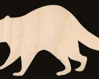 RACCOON Shapes Natural Craft Wood Cutout 885