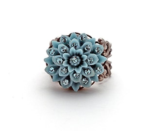 Crystal Flower Ring Girls/Teen Jewelry Sky Denim Gray Blue Adjustable Oxidized Silver Filigree Swarovski Crystals Bedazzled Adult Pinky Ring
