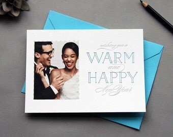 DIY Letterpress Holiday Photo Card Letterpress New Year Cards - Warm and Merry
