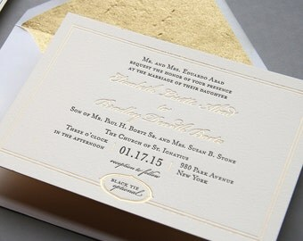 Letterpress and Gold Foil Wedding Invitation Set - Metropolitan