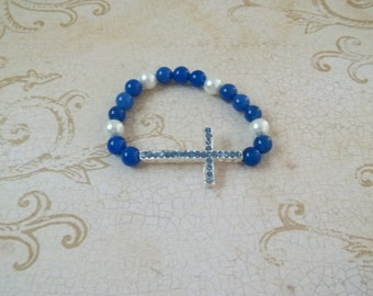 Sideways Cross Blue Agate Stretch Bracelet