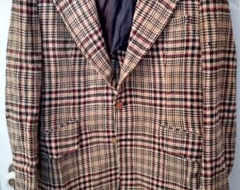 men's tweed sportcoat jacket suit coat grunge boho 42 geek chic professor