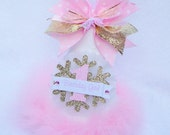 Pink Gold and White Winter Onederland Snowflake Birthday Party Hat