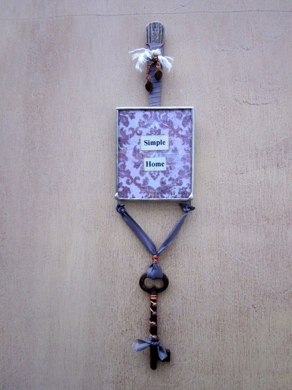 Altered Silverware Skeleton Key Soldered Glass Assemblage Sign Wall Art