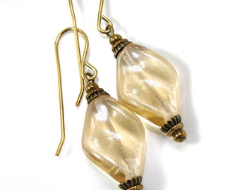 Jonquil glass drop earrings,  golden twisted glass drops, champagne glass dangles