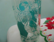 vintage Popeye and olive oil drinking glass rare