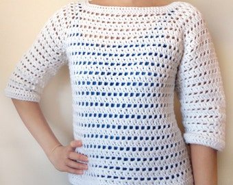 Striped Eyelet Sweater - 9 Sizes - PDF Crochet Pattern - Instant Download
