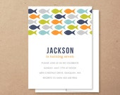 fish //  kids birthday invitation set  //  baby shower  //  fishing party  //  under the sea  //  pool party