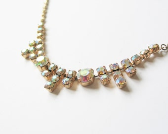 NEW YEAR SALE! Glorious 1960s gold tone brass and rainbow pastel coloured aurora borealis rhinestone statement costume necklace