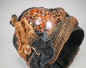 Copper Stone Black Fiber Ruffle Wide Wrap Cuff - Flexible Bracelet No. 168