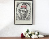 Santa Muerte print, original linocut in black and red, Dia de los muertos art print, day of the dead inspiration