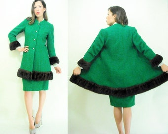 SALE...Emerald Green Boucle LILLI ANN Vintage 50's Matching Set Mink Fur Princess Coat and Skirt Suit Set Separates / Size Small