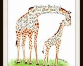 Giraffe and baby Scripture Design typography print 8x10