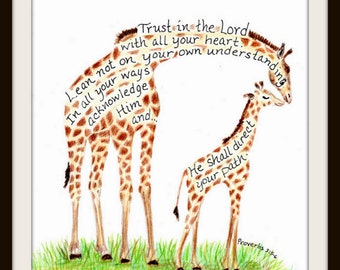 Giraffe and baby Scripture Design typography print 8x10