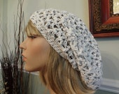 Cotton White with Subtle Black/Gray Flecks Open Weave Slouch, Tam Hat, Snood, Beret.  Great Summer Beach Hat.