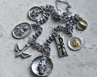 """I am a Catholic ~ Vintage ELCO Sterling Silver Catholic Medals Bracelet ~ Smaller 7"""""""