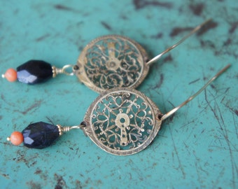 Antique Asssemblage Earrings with 18th Century Watch Coq, Iolite and Coral