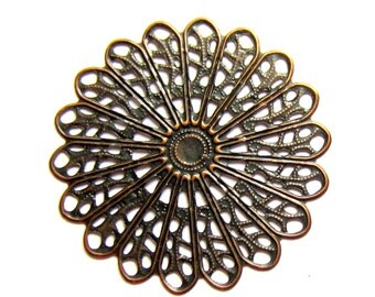 10 Filigree jewelry findings antique bronze medallion victorian style jewerly supply 45mm x 45mm Ro176-R