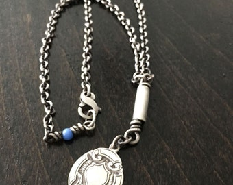 Sterling Silver English Shield Fob Necklace of Protection