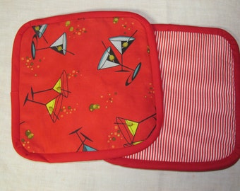 Red pot holders, Martini pot holders, red, drinks