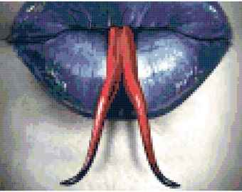 Forked Tongue and Lips original Cross Stitch Pattern