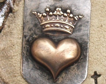 Soldered Crown Heart Dog Tag Pendant Charm Bohemian Raw Brass Metalwork Mixed Metals Altererd Art Supply Jewelry Scrapbook Crown necklace