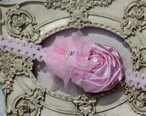Pink Girls Headband-Pearl Rhinestone - Photo Prop - Newborn Infant Baby Toddler Girls Wedding-Jamie Powell Designs-