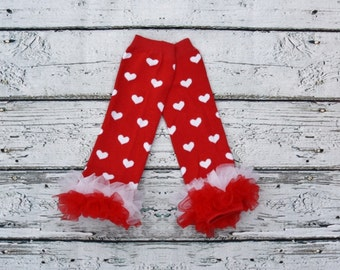 Heart Leg Warmers and Ruffle Bottom, Babies, Leggings Red leg warmers- Photo prop- First Birthday Outfit- Matching Set-Chevron Tie