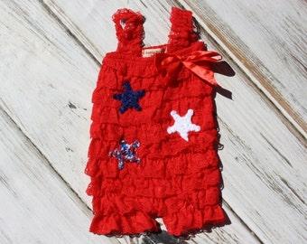 Red Petti Romper with Stars - Lace Romper - Girls Romper -1st 4th of July- Petti Lace Romper - Baby Outfit