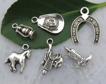 6 COUNTRY WESTERN Theme Charms -Assorted, Each One Different -Antique Silver -Rustic Collection - Cowboy Hat Boots Saddle Horse Lantern Shoe