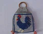 50s ROOSTER boho HANDBAG hand woven wood handle