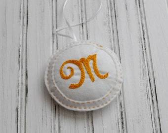 Embroidered Felt Ornament - Personalized - Door Hanger - Initial - Monogram - Small Plush Pillow - Decoration - Beige Letter M