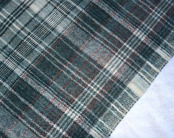 Vintage Fabric - Grey and Black Wool Plaid - 54 x 36