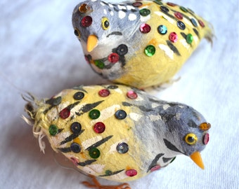 Vintage Spun Cotton Birds - 2 Partridges in Blue and Yellow - Made in Hong Kong